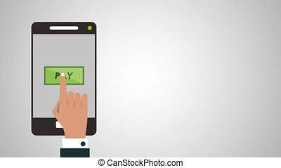 Online shopping from smartphone HD animation