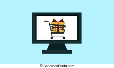 Online shopping from tablet HD animation