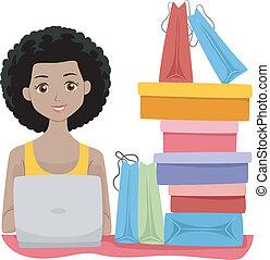 Online Shopping Girl - Illustration of a Girl Sitting Beside...