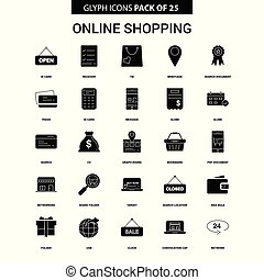 Online Shopping Glyph Vector Icon set