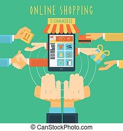 Online shopping hands concept print