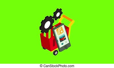 Online shopping icon animation cartoon best object on green screen background