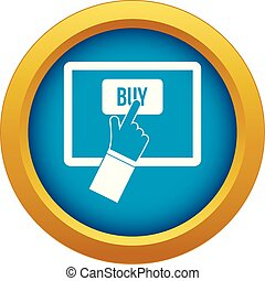 Online shopping icon blue vector isolated