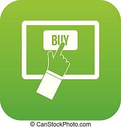 Online shopping icon digital green