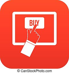 Online shopping icon digital red