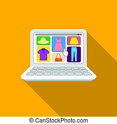 Online shopping icon in flat style isolated on white background. E-commerce symbol stock vector illustration.