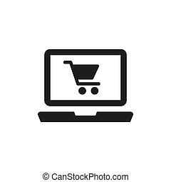 Online shopping icon on white background.