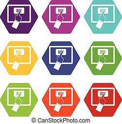 Online shopping icon set color hexahedron