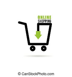 online shopping icon with basket illustration