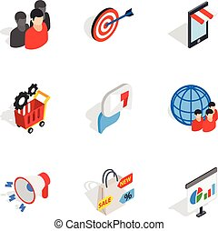 Online shopping icons, isometric 3d style