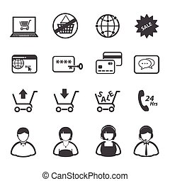 Online shopping icons set
