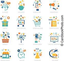 Online Shopping Icons Set