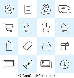 Online shopping icons set. Vector outline symbols on colored...