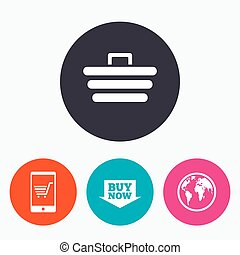 Online shopping icons. Smartphone, cart, buy.