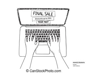 Online shopping illustration with laptop. Final sale on monitor with place for your text. Hands on keyboard. Hand drawn vector black and white doodle sketch