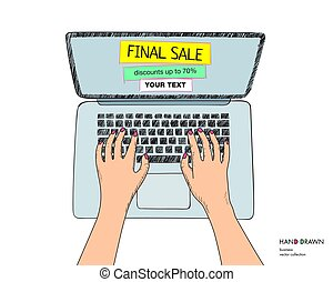 Online shopping illustration with laptop. Final sale on monitor with place for your text. Hands on keyboard. Hand drawn vector sketch isolated on white background