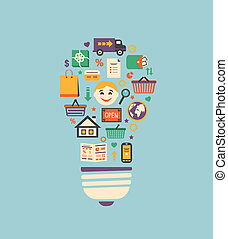 Online shopping innovation idea in flat style vector ...