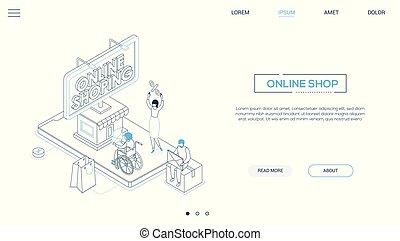 Online shopping - line design style isometric web banner on...