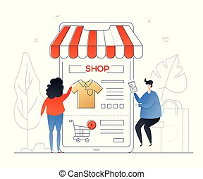 Online shopping - modern colorful flat design style...