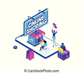 Online shopping - modern colorful isometric vector...