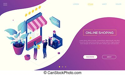 Online shopping - modern colorful isometric vector web...