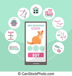 Online shopping of pet care accessories for cats. 9 categories of goods for cats claw nippers, food, houses, scratching post, brush, toilet, carrying, toys, Flat cartoon vector illustration