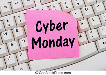 Online shopping on Cyber Monday, computer keyboard and sticky note
