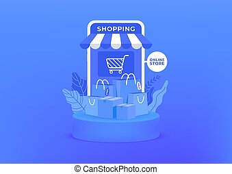 Online shopping on mobile. Shopping bag and boxes on blue background. Online shop on mobile application.