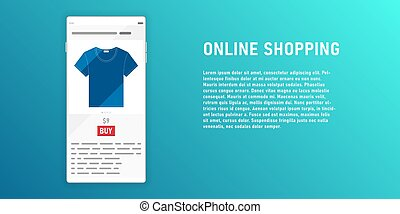 Online shopping on smartphone illustration with blue copy space background.