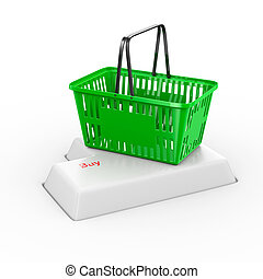 online shopping on white background. Isolated 3d...