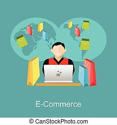 Online shopping or e-commerce illustration. Flat design illustration concept.