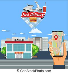 Online shopping order and delivery with motorcycle or scooter and city landscape.