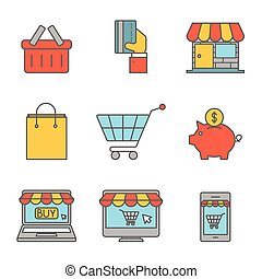 Online shopping outline flat icons