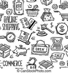 Online shopping pattern - E-commerce online shopping sketch...