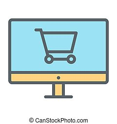 Online Shopping Pixel Perfect Vector Thin Line Icon 48x48. Simple Minimal Pictogram