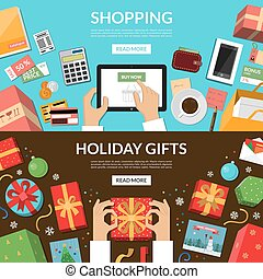 Online shopping. Preparing for holidays. Wrapping of Christmas gifts and greeting cards.