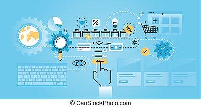 Flat line design website banner of online shopping procedure. Modern vector illustration for web design, marketing and print material.