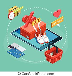 Online Shopping Process Isometric Ecommerce Poster