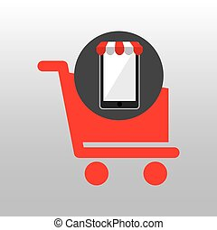 online shopping red cart buy design
