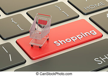 Online Shopping red keyboard button, 3D rendering