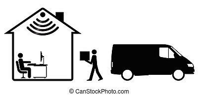 Online Shopping - Representation of online shopping and home...