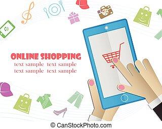 Online shopping Sale, Flat design vector illustration