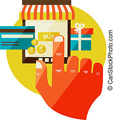 online shopping. Sale, Laptop and smart phone with awning. Flat design modern illustration.