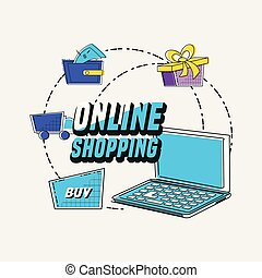 online shopping set icons