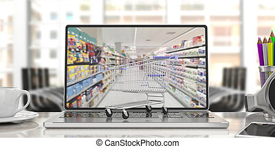 Shopping cart on a computer laptop, on blur office background. 3d illustration