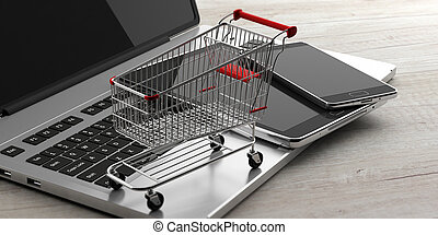 Online shopping. Shopping cart, smartphone, tablet and a computer laptop, on wooden background. 3d illustration