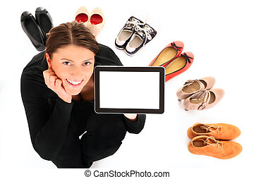 Online shopping - A picture of a pretty young woman sitting...