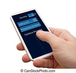 Online Shopping - Closeup of Man's Hand Touching Screen of...