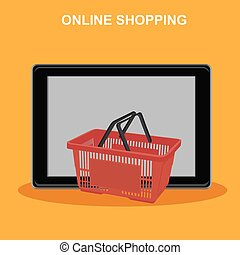 online shopping, tablet with basket