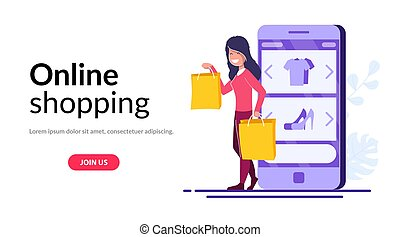 Online Shopping vector concept. Young girl with packages or purchases stands on the background of a mobile phone with an open online store.